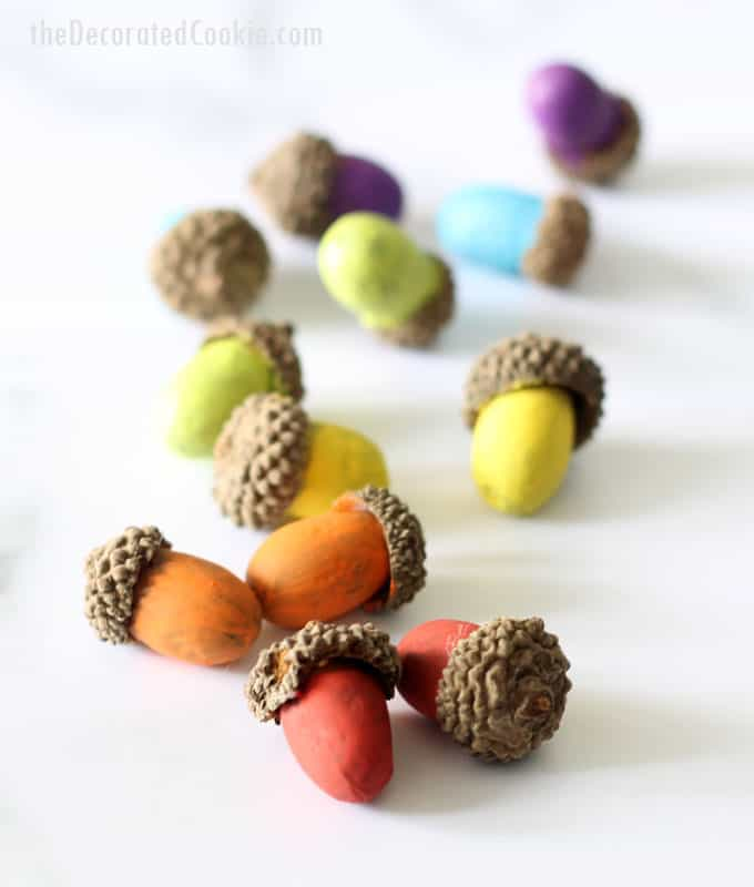 easy, colorful painted acorns -- rainbow acorns -- home decor craft or centerpiece for Fall or Thanksgiving