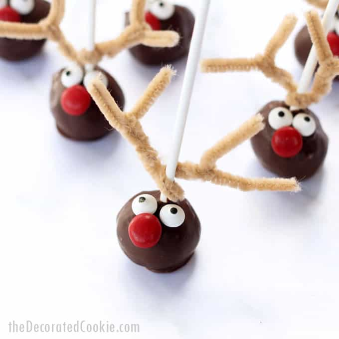 Rudolph reindeer donut pops! An easy, budget-friendly version of the Williams-Sonoma reindeer cake pops. Cute Christmas treats. Video how-tos.