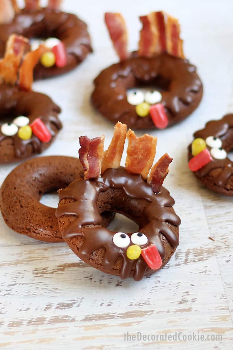 chocolate donut turkeys for Thanksgiving