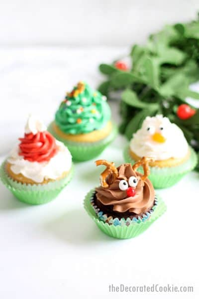 Christmas cupcakes: Rudolph, Christmas tree, Santa hat, and snowman
