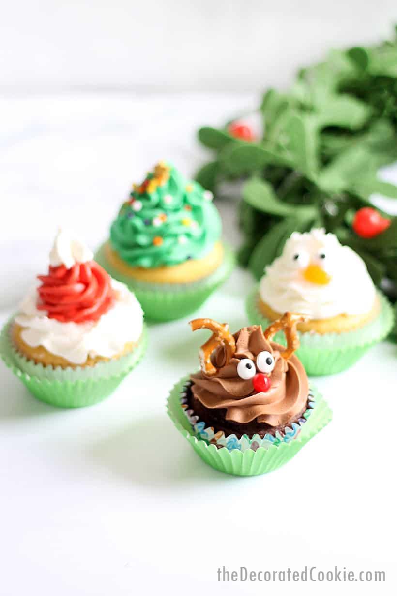 Christmas cupcakes: Rudolph, Christmas tree, Santa hat, and snowman