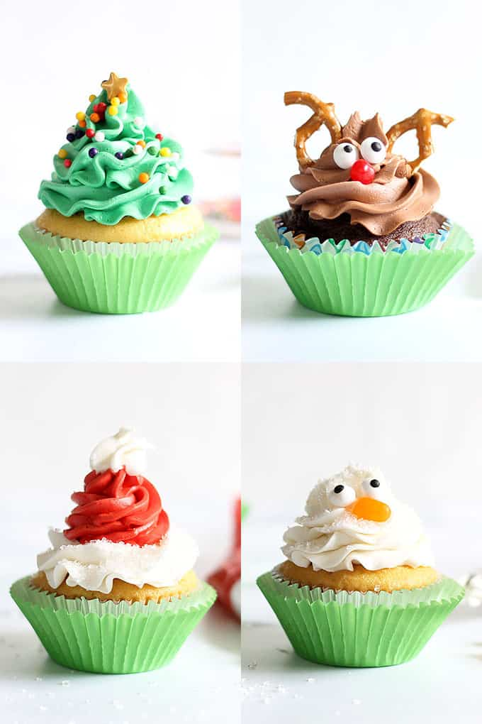 Easy Christmas cupcakes, four ways with one tip! Simplify your holiday baking and decorating with these Christmas cupcake ideas. #christmascupcakes