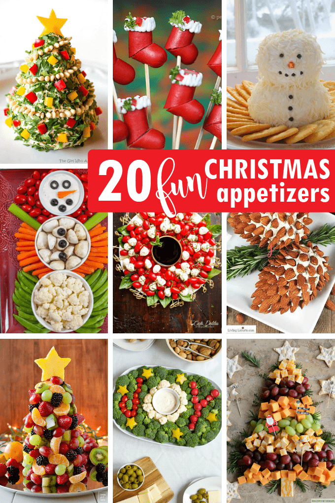 A roundup of 20 creative Christmas appetizers. Clever, fun food to serve at your holiday party! #Christmas #appetizers