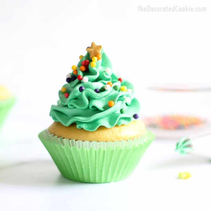 Christmas cupcake ideas -- Four ways with one tip! Simple, easy Christmas cupcake decorating. Video how-tos.