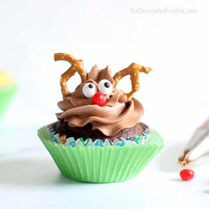 Rudolph cupcakes: Christmas cupcake ideas -- Four ways with one tip! Simple, easy Christmas cupcake decorating. Video how-tos.