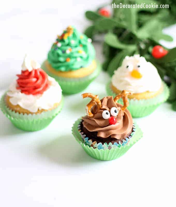 Christmas cupcakes four ways