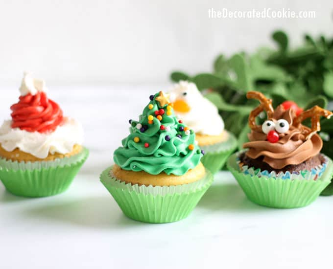 Christmas cupcake ideas four ideas with one decorating Cupcake decorating ideas