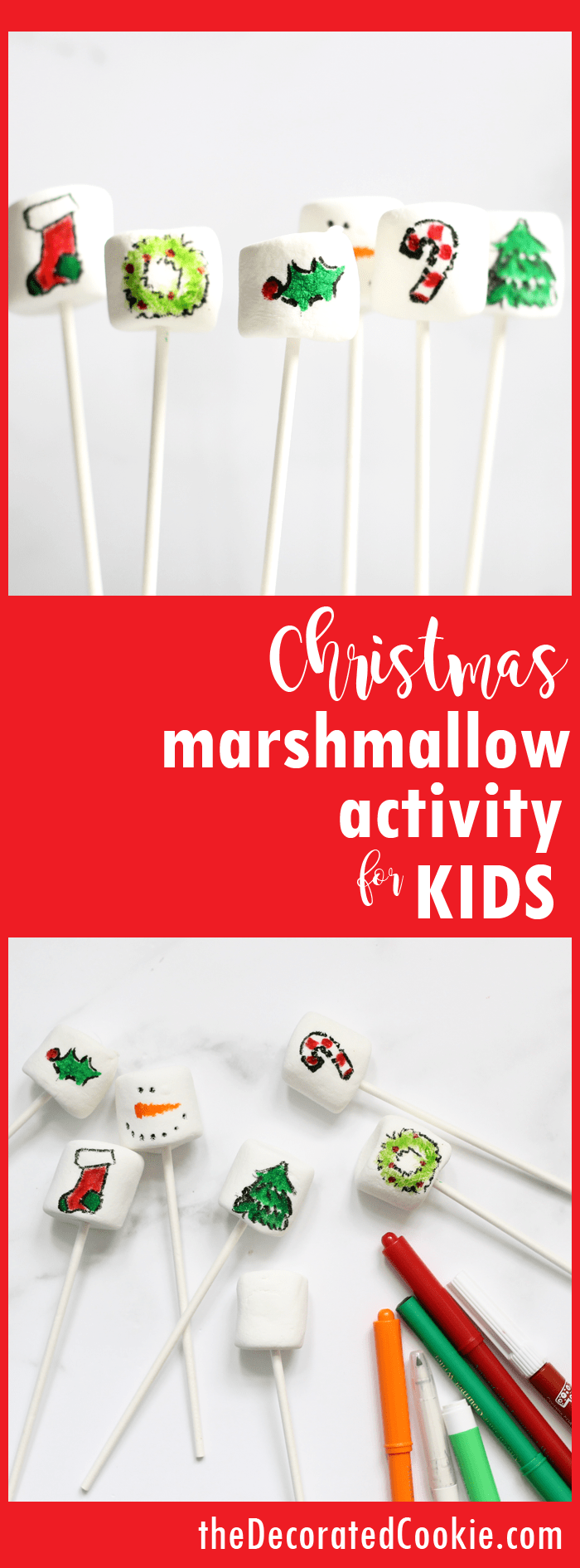 Last-minute Christmas marshmallow activity for kids to do on Christmas day -- easy, fun, food writers and marshmallows