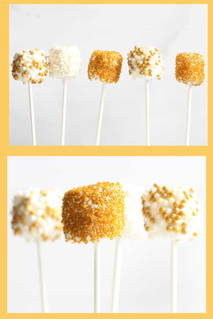 New Year's Eve gold marshmallow pops are a sparkly fun food idea for your New Year's Eve party. Just dip marshmallows in white candy or chocolate and add festive gold sprinkles. #newyearseve #newyears #marshmallows #gold