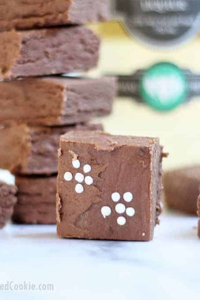 3-ingredient elderflower boozy fudge is a liquor-filled, chocolate dessert, just for grown-ups