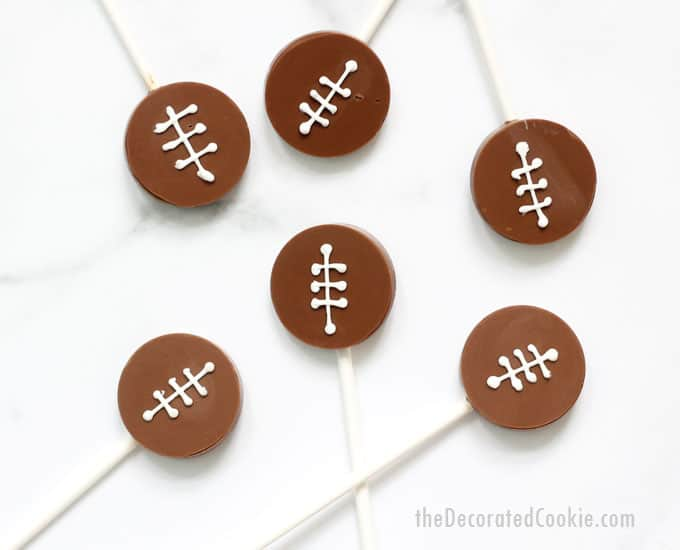 How to make football chocolate pops, a fun food idea, Super Bowl party dessert idea. Video how-tos included.