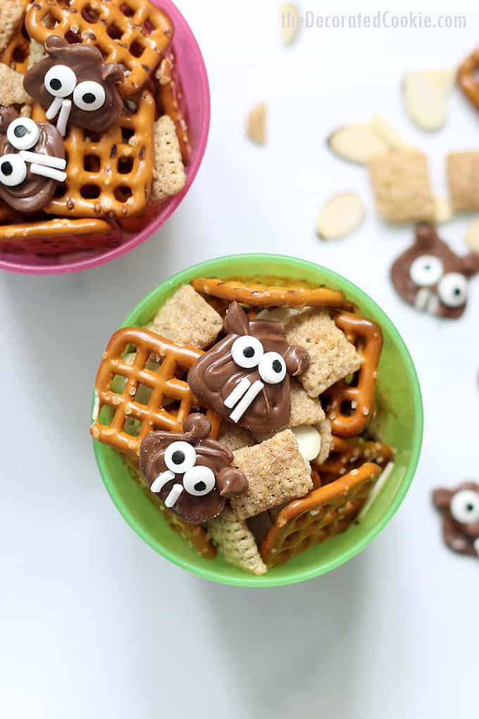Groundhog day snack mix, a cute and fun treat to serve on Groundhog Day. Video how-tos included. Great classroom treat idea for this Winter holiday.