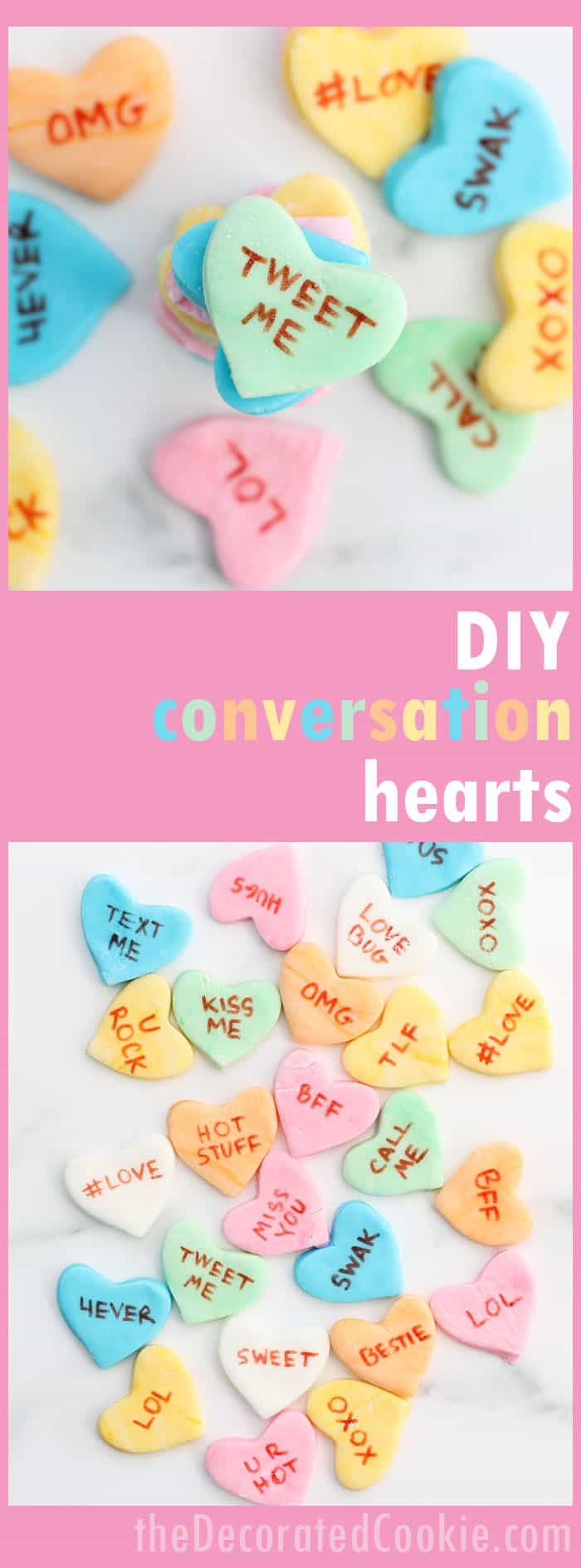 how to make homemade conversation hearts candy for valentine's day.