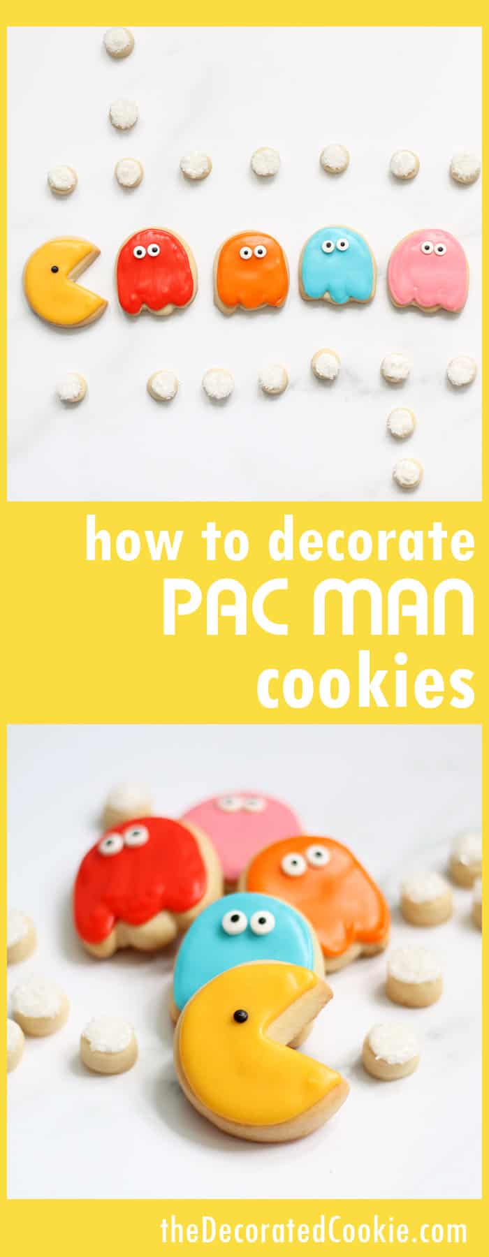 How to decorate Pac Man cookies... Fun food idea for your 1980s party. '80s video game cookies