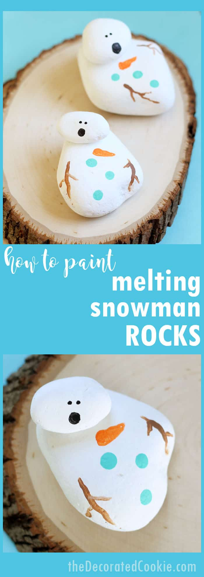 Melting Snowman Painted Rocks