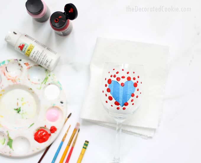 how to paint Valentine's Day wine glasses -- a great DIY Valentine's Day gift idea