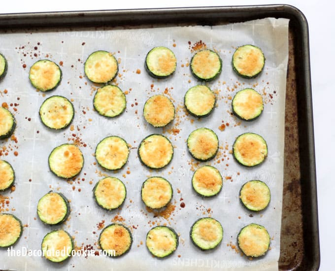 These easy Parmesan zucchini chips are an easy, addictive snack, side dish, or appetizer. Video recipe included.