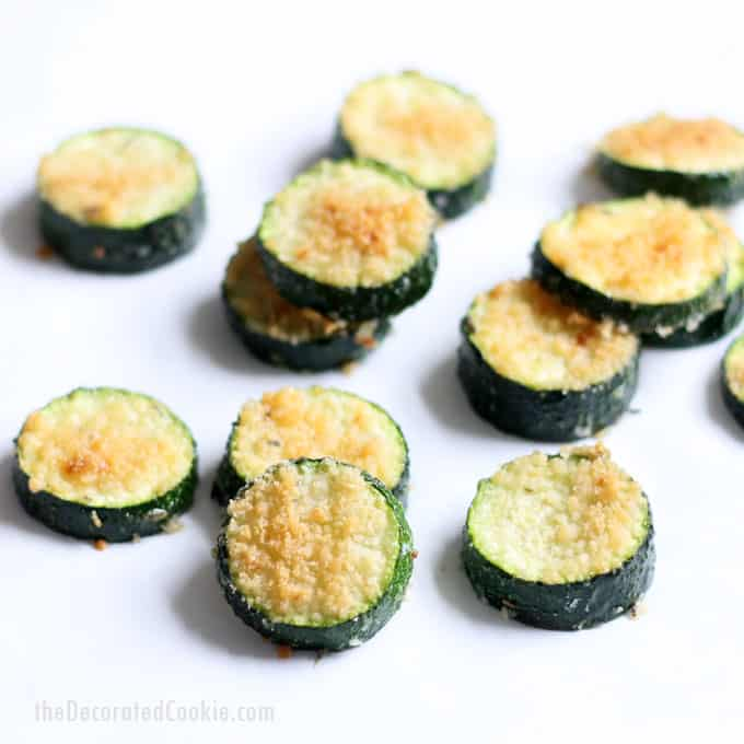 These easy Parmesan zucchini chips are an easy, addictive snack, side dish, or appetizer.Video recipe included.