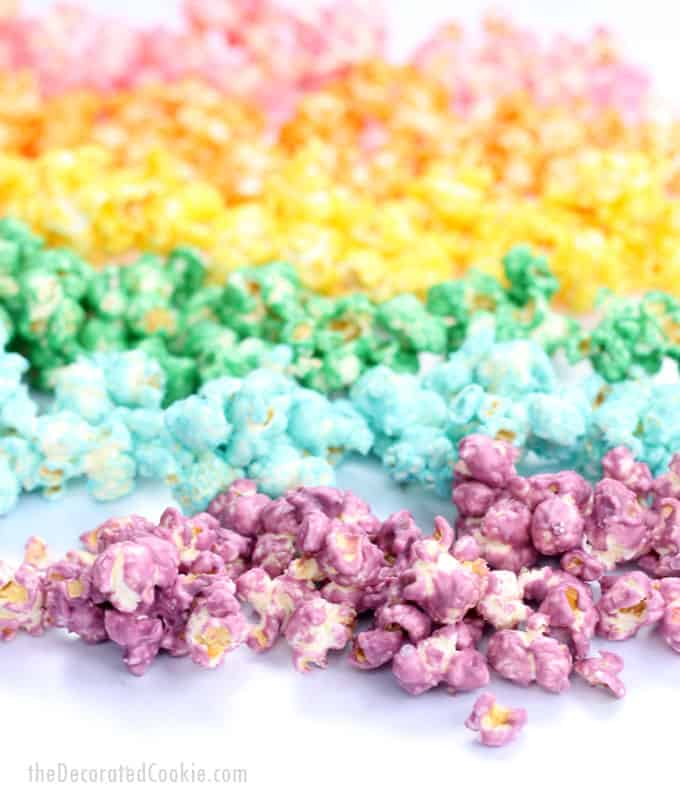 How to make colorful, candy RAINBOW POPCORN! A fun food snack for a rainbow party or unicorn party. Awesome unicorn food. Also great for St. Patrick's Day. Video how-tos included.