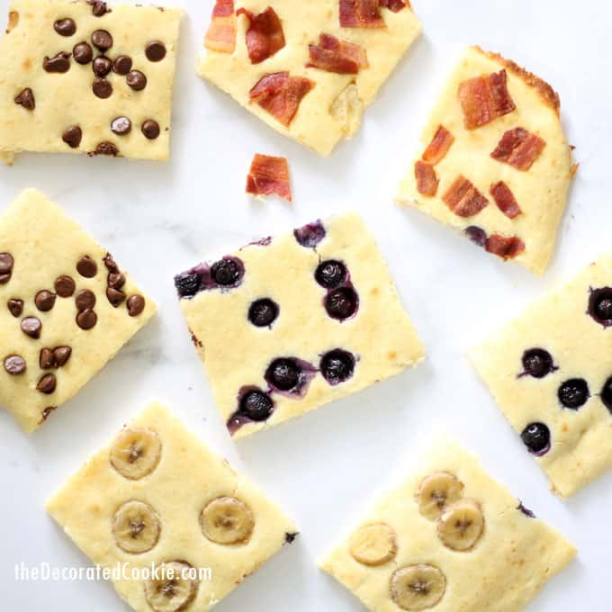 Sheet pan pancakes with toppings -- Easy breakfast idea for a crowd, or to freeze for weekday breakfasts.