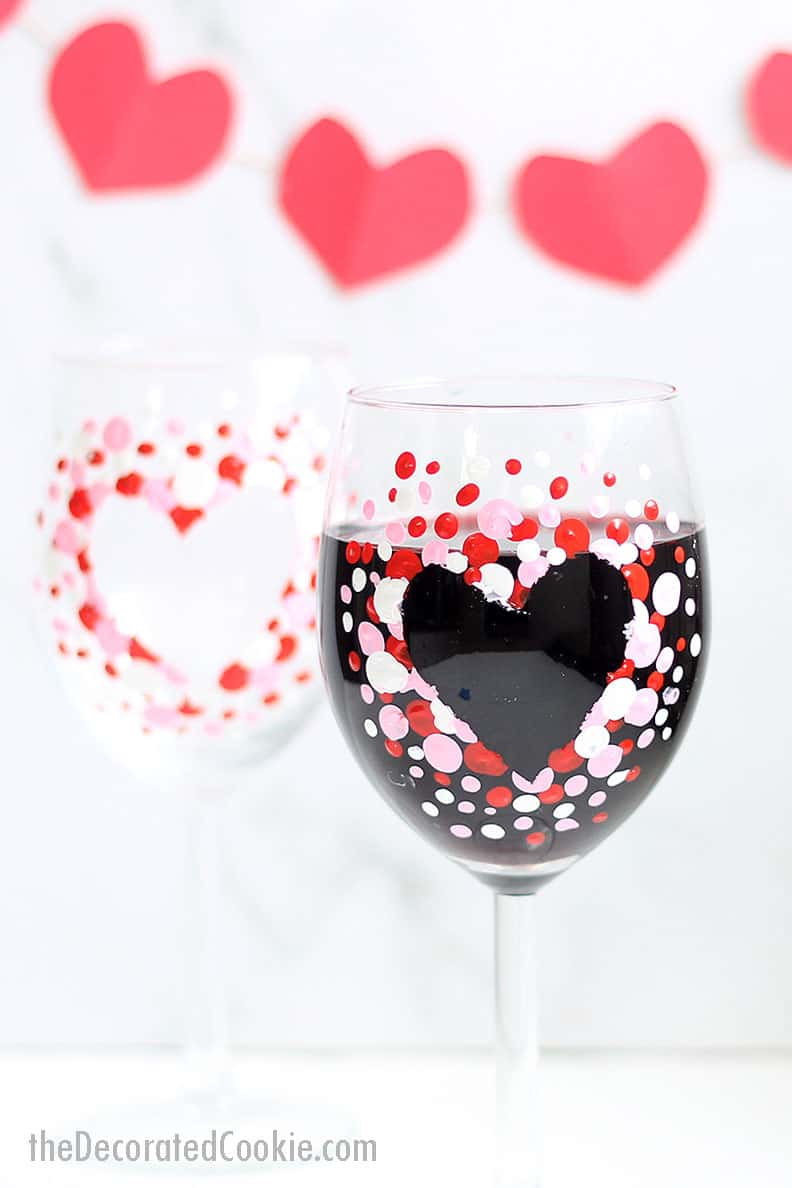 how to paint Valentine's Day wine glasses