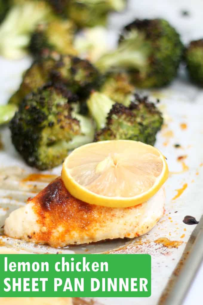 This easy broccoli and lemon chicken sheet pan dinner is delicious, full of flavor, and ready in under 30 minutes. It's low-carb, keto, whole 30, gluten-free, and an all around winner.   #SheetPanDinner #LemonChicken #EasyChickenRecipes #Keto #LowCarb #Broccoli