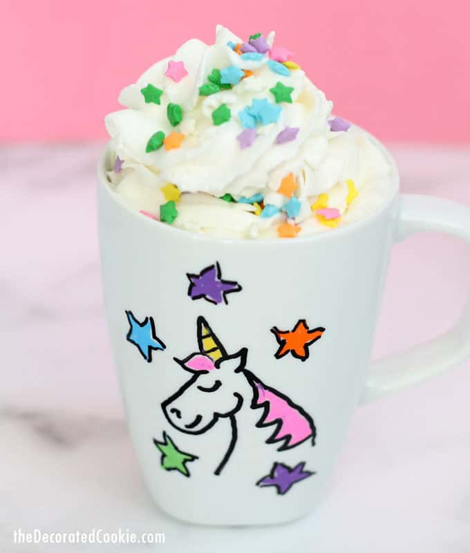 This DIY unicorn mug is easy to make, dishwasher safe, and a perfect personalized gift for your unicorn-loving loved ones. This rainbow craft idea is for kids or adults. Video how-tos.