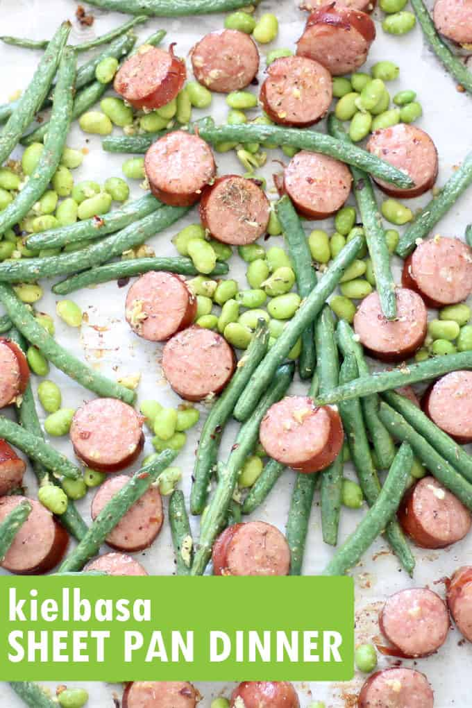 This easy kielbasa sheet pan dinner with green beans and edamame takes less than 30 minutes to prepare, is low-carb, gluten-free, whole 30, keto and delicious! Video recipe. #SheetPanDinner #EasyKielbasaRecipe #Kielbasa #GreenBeans #Edamame #LowCarb