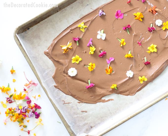 Edible flower chocolate bark is delicious, super-easy to make, and gorgeous. It's the perfect spring or Easter dessert or Mother's Day gift idea.