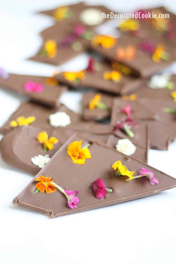 How to make beautiful edible flower chocolate bark, a perfect treat to make and give in Spring, for Mother's Day, or for Easter. Video how-tos.