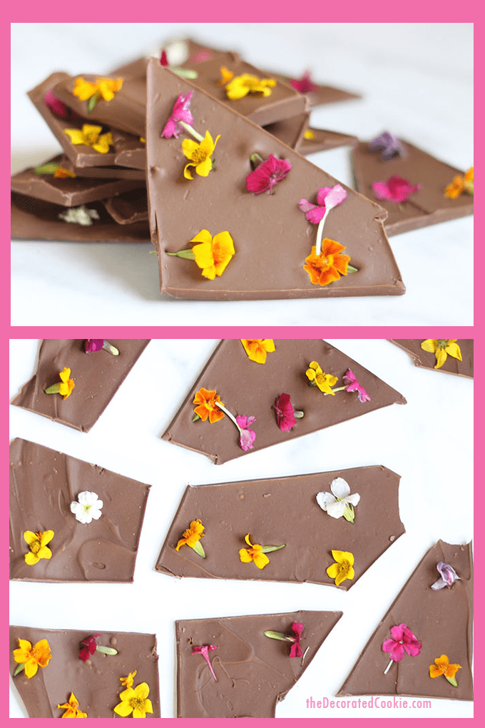 How to make edible flower chocolate bark, a delicious treat for Easter, Mother's Day or Spring. #ChocolateBark #EdibleFlowers #MothersDay #springdesserts
