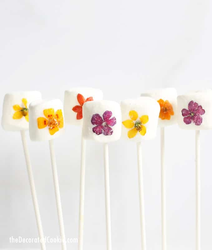 Edible flower marshmallows pops for spring easter mothers day edible flower marshmallow pops are a beautiful easy treat to make for spring easter mightylinksfo