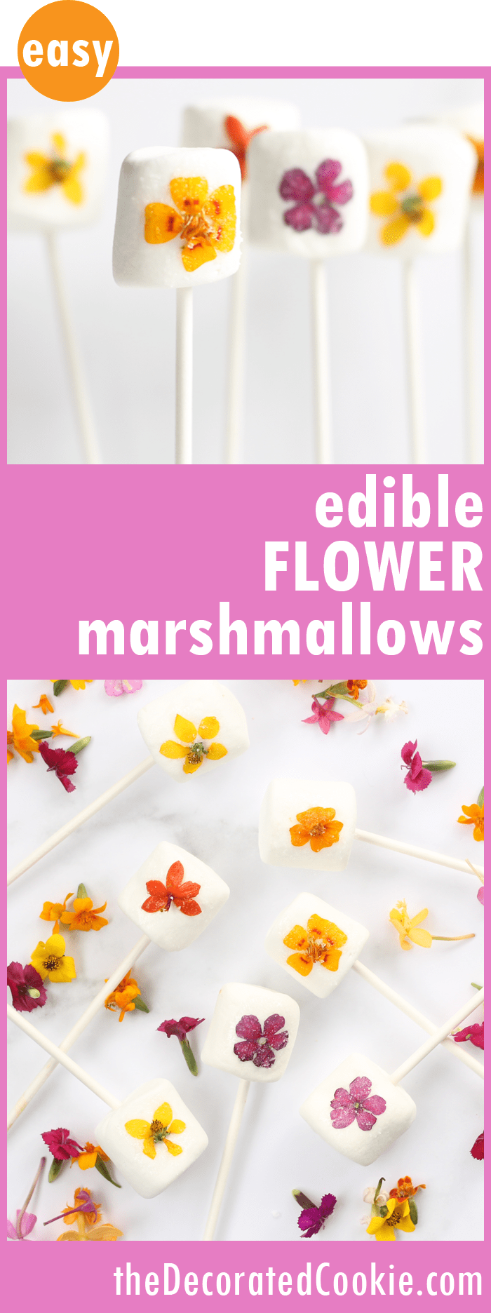 Edible flower marshmallow pops are a beautiful, easy treat to make for Spring, Easter, Mother's Day or any day.