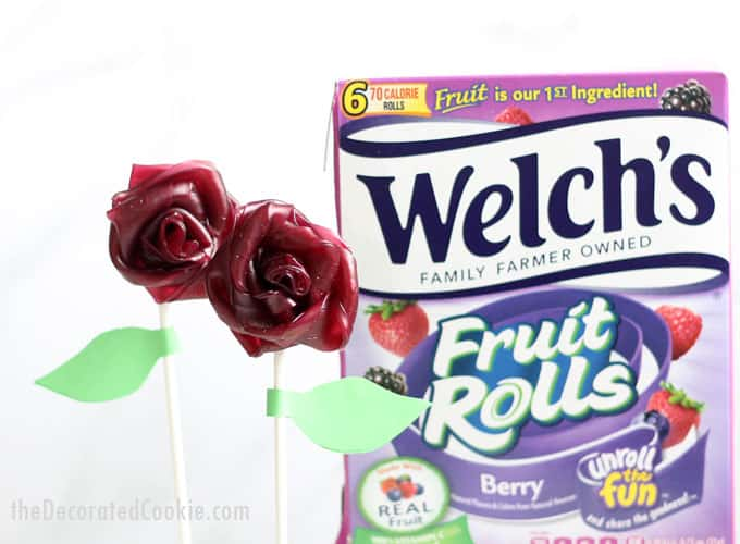 Fruit Roll rose bouquet! How to make gorgeous, EASY, fruit roll roses (flowers) with Welch's Fruit Rolls. A fun, kid-friendly food craft for spring. Use as cake, cookie, or cupcake toppers, OR, make a fruit roll rose bouquet as a gift for Mother's Day or birthdays. #WelchsFruitRolls #UnrollTheFun #sponsored #ad