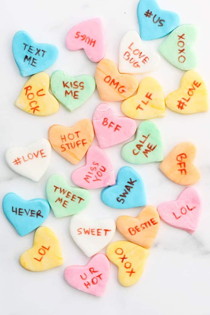Homemade conversation heart candy for Valentine's Day #copycatrecipe #homemade #candy #valentinesday #conversationhearts