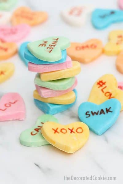 homemade conversation hearts candy for Valentine's Day, in pastels