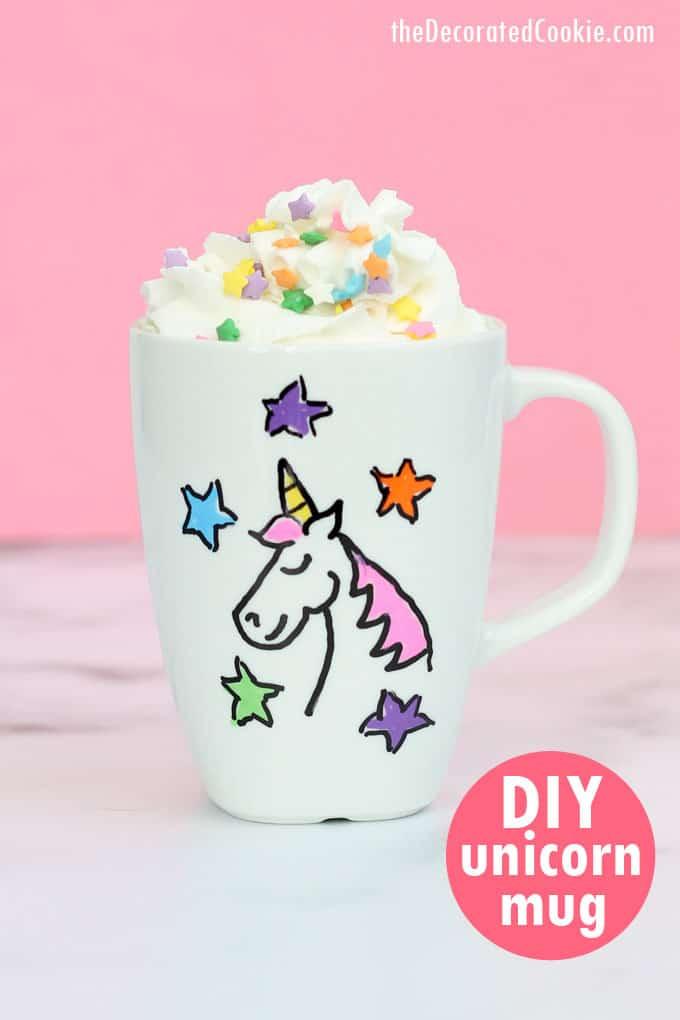 unicorn craft: Make a DIY unicorn mug, personalized gift, dishwasher-safe. #UnicornMug #UnicornCrafts