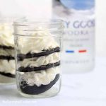 This vodka ice box cake in a jar is a delicious, no-bake, overnight dessert idea combining chocolate wafers, whipped cream, and vodka. Individual servings in a mason jar. Whipped cream vodka recipe.