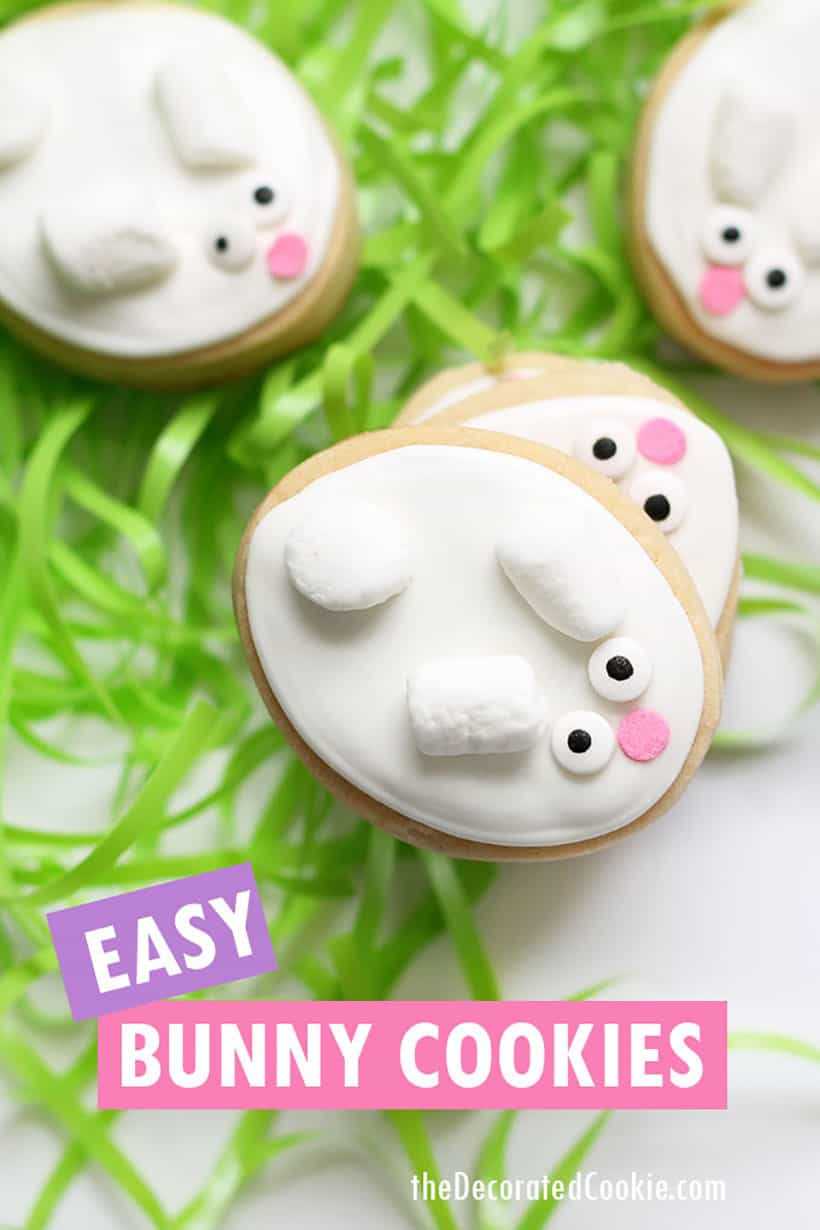 easy Easter bunny decorated cookies