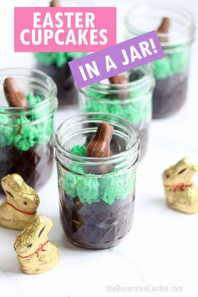 chocolate easter cupcakes in a jar