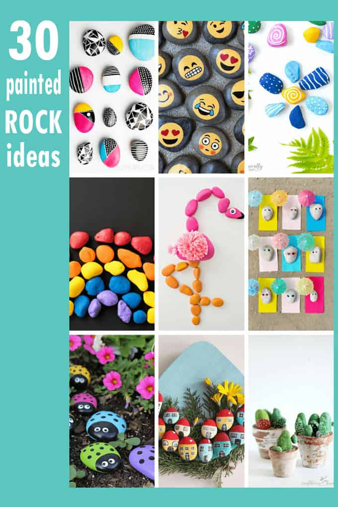 A roundup of 30 awesome rock painting ideas for kids and adults, including links to rock painting tutorials and how to paint on rocks. #PaintedRocks