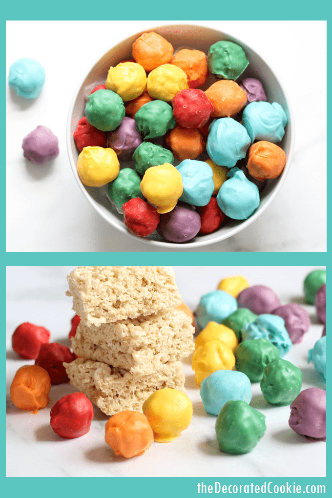 How to make rainbow Rice Krispie Treat bites, perfect, fun food for your rainbow or unicorn party. Video step-by-steps included. #RiceKrispieTreats #Rainbow #UnicornFood