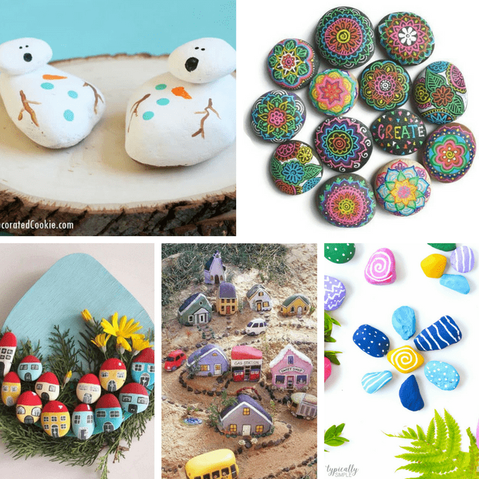 A roundup of 30 awesome rock painting ideas. #rockpainting #paintedrocks