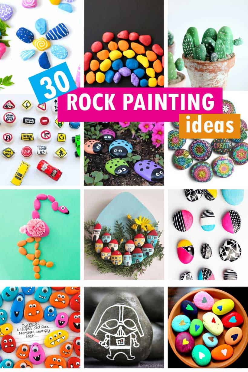 collage of rock painting ideas