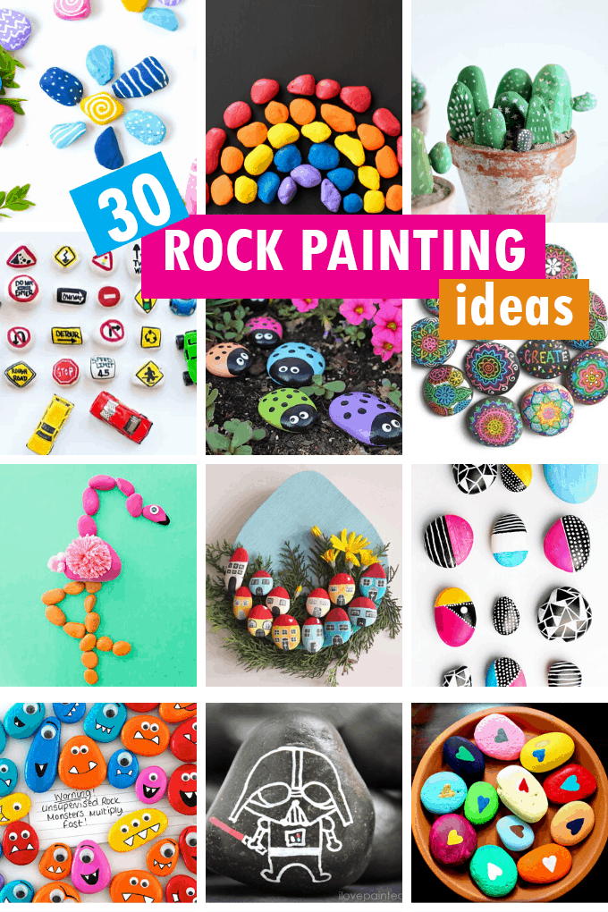 rock painting collage