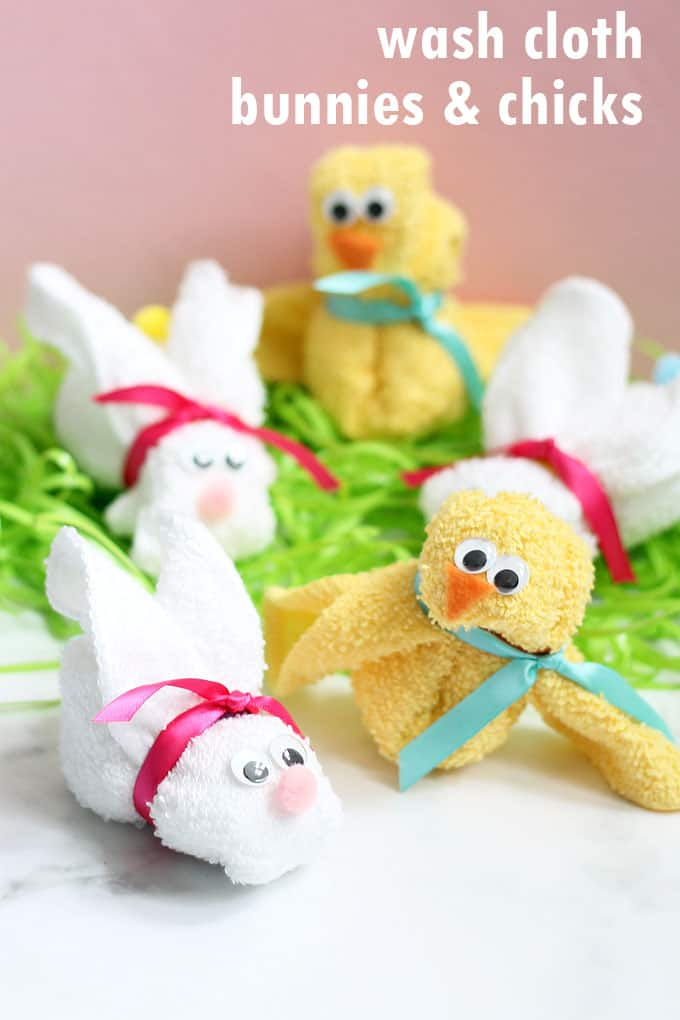 How to make am adorable wash cloth bunny and chick. A great addition to a baby shower gift or Easter basket. Video how-tos included.