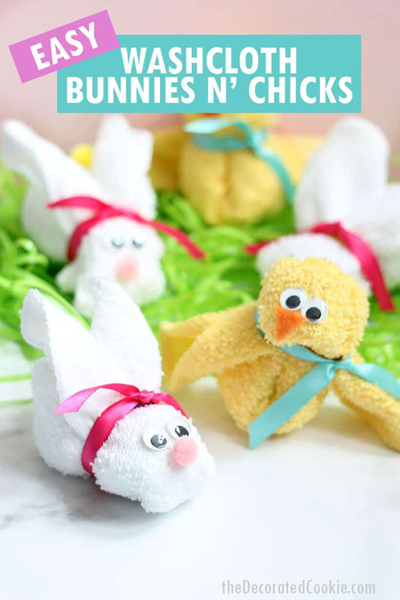 bunny and chick Easter animals made from wash cloths