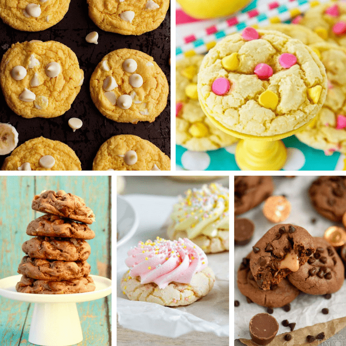 A roundup of awesome, easy cake mix cookies! With a 3-ingredient base recipe, add any variation you like. #CakeMixCookies