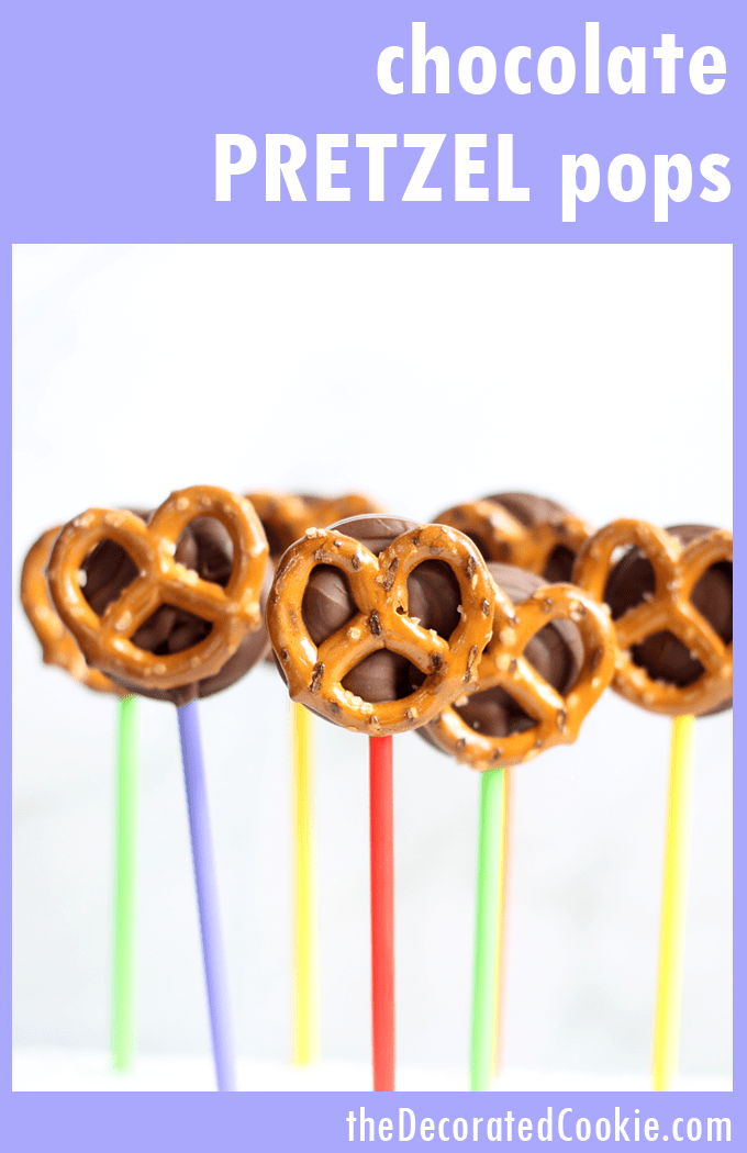 These chocolate pretzel pops are a quick and delicious sweet and salty treat, and so much easier to make than chocolate-covered pretzels. Video how-tos. #ChocolateCoveredPretzels #Chocolate #Lollipops