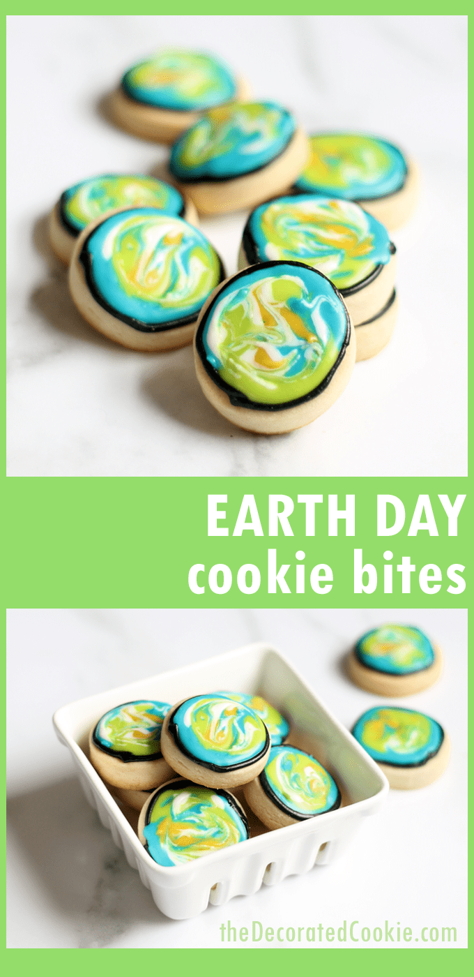 How to decorate Earth Day cookie bites, an easy Earth Day fun food idea.#EarthDay #cookies #CookieDecorating #FunFoodIdeas #DecoratedCookies